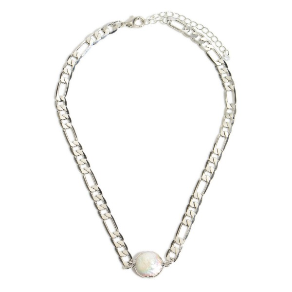 "Figaro Chain Link Pearl Necklace.  - Pearl .5""  - Approximately 15"" in Length - 3"" Adjustable Extender"
