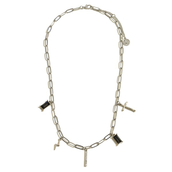 """Chain Link Charm Necklace Featuring Natural Stone, Rhinestone, Cross & Lightning Bolt Details.  - Charm's approximately .5""""  - Approximately 16"""" in Length - 3"""" Adjustable Extender"""