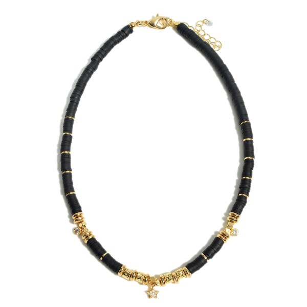 """Rubber Heishi Beaded Necklace Featuring Gold Beads with Star Accent.  - Approximately 14"""" in Length - 3"""" Adjustable Extender"""