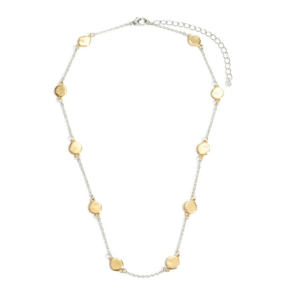 "Two Tone Flat Disc Necklace.  - Approximately 14"" in Length - 3"" Adjustable Extender"
