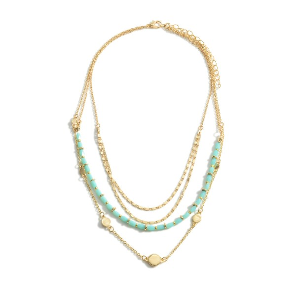 "Layered Necklace Featuring Beaded Accents and Gold Details.   - Approximately 18"" in Length  - Adjustable 3"" Extender"