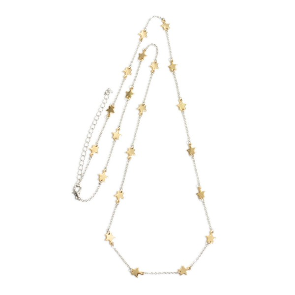 """Two Tone Long Star Necklace.  - Approximately 28"""" in Length - 3"""" Adjustable Extender"""