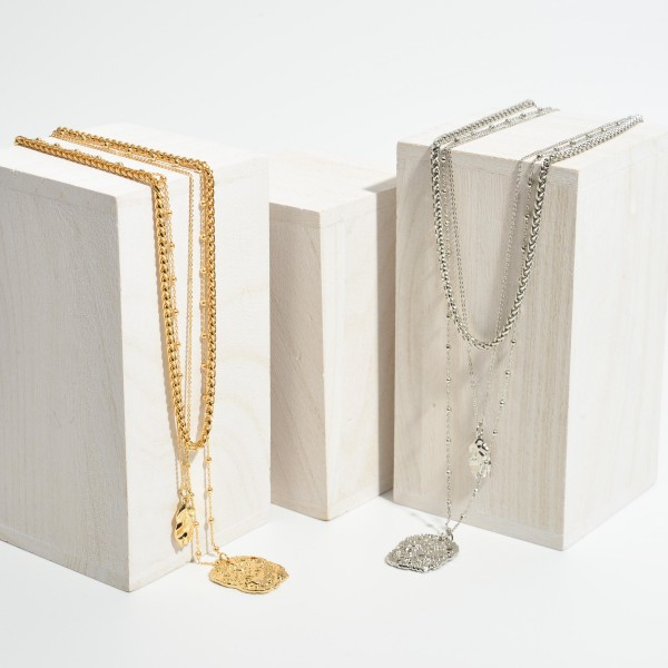 """Rope Chain Link Layered Nugget Pendant Necklace.  - Pendant 1"""" - Shortest Layer 16"""" - Approximately 22"""" in Length - 3"""" Adjustable Extender"""