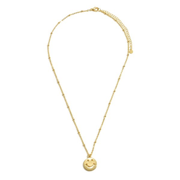 "Smiley Chain Necklace in Gold.  - Pendant .5""  - Approximately 16"" in Length - 3' Adjustable Extender"