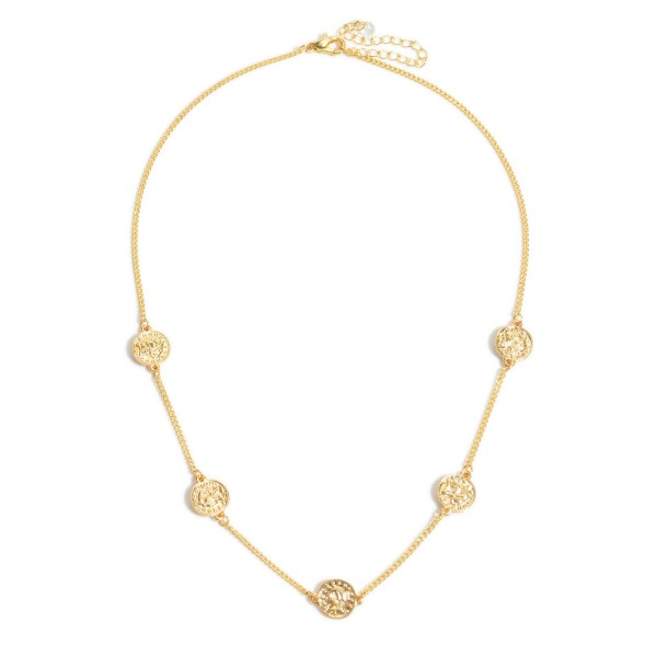 """Coin Necklace in Gold.  - Approximately 12"""" in Length - 3"""" Adjustable Extender"""