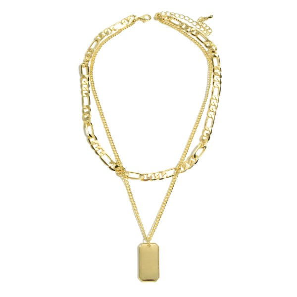 "Figaro Chain Link Layered Dog Tag Necklace in Gold.  - Pendant 1"" - Shortest Layer 14""  - Approximately 18"" in Length  - 3"" Adjustable Extender"