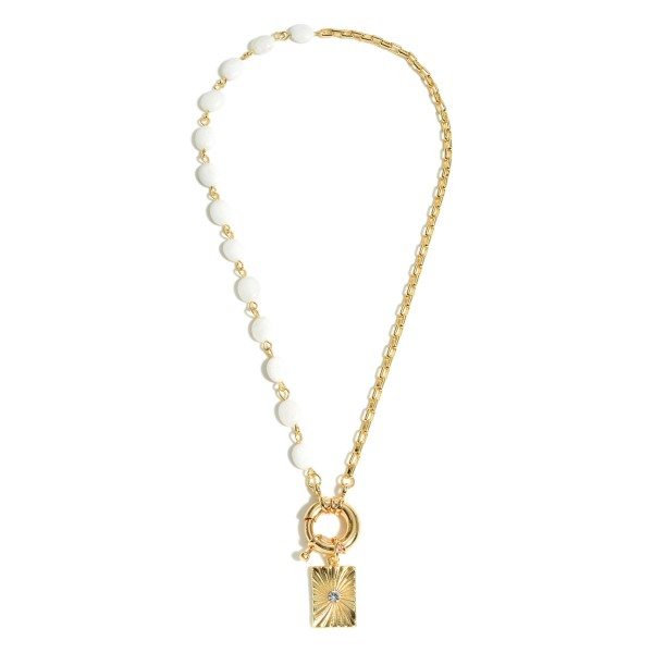 """Semi Precious Stone Chain Spring Ring Sunburst Pendant Necklace in Gold.  - Pendant .75""""  - Approximately 18"""" in Length"""