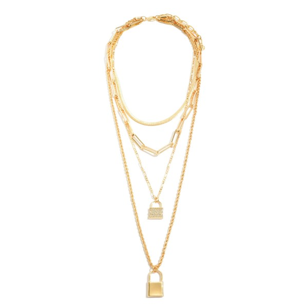 "Chain Link Layered Lock Pendant Statement Necklace in Gold.  - Pendant 1"" L - Shortest Layer 14""  - Approximately 24"" in Length - 3"" Adjustable Extender"