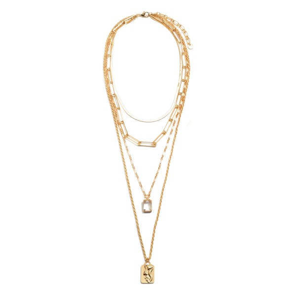 """Chain Link Layered Love Statement Necklace in Gold Featuring Clear Rhinestone Accent.  - Pendant .75""""  - Shortest Layer 14""""  - Approximately 28"""" in Length  - 3"""" Adjustable Extender"""
