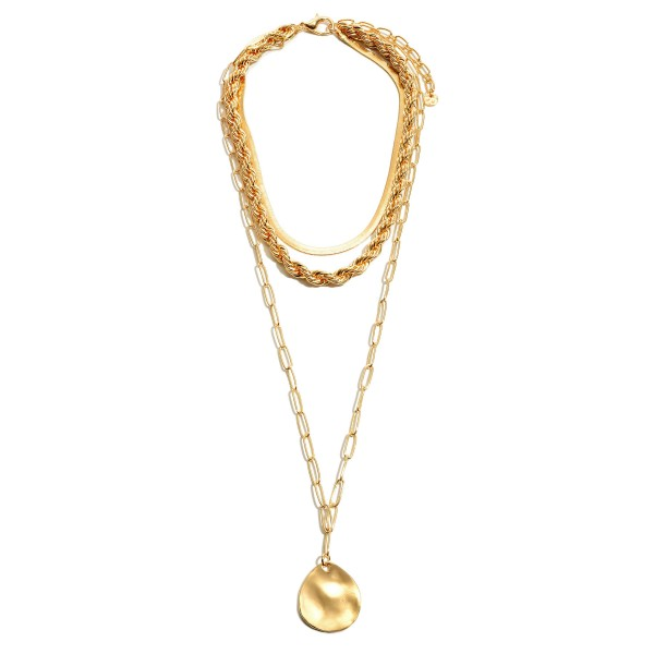 "Rope Chain Layered Pendant Statement Necklace in Gold.  - Pendant 1.25"" in Diameter - Shortest Layer 14""  - Approximately 26"" in Length Overall - 3"" Adjustable Extender"