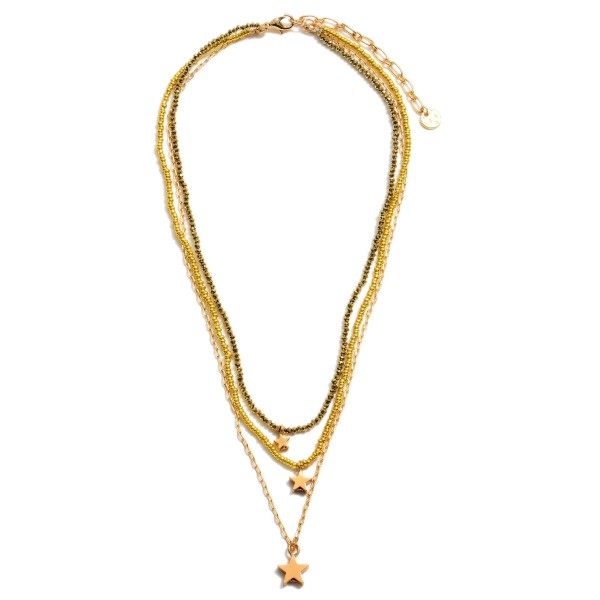"""Beaded Layered Star Necklace in Gold.  - Pendant 1cm  - Approximately 16"""" in Length - 3"""" Adjustable Extender"""