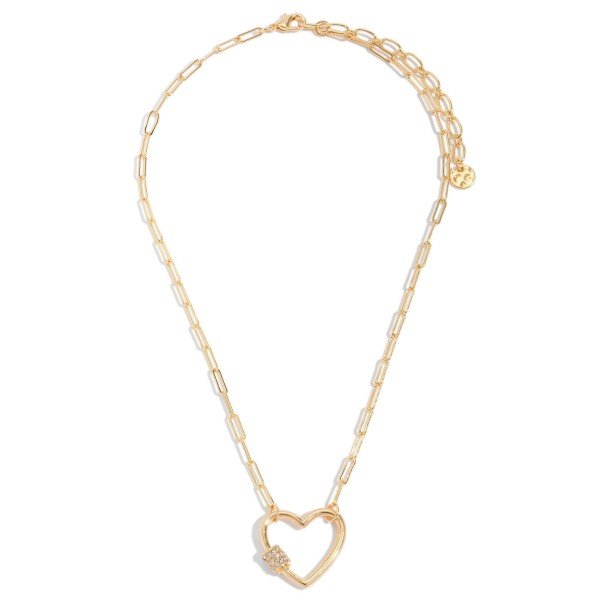 Wholesale chain Link Heart Carabiner Necklace Gold Rhinestone Accents Pendant Ad