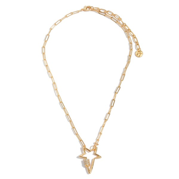 """Chain Link Star Carabiner Necklace in Gold Featuring Rhinestone Accents.  - Pendant 1""""  - Approximately 16' in Length - 3"""" Adjustable Extender"""
