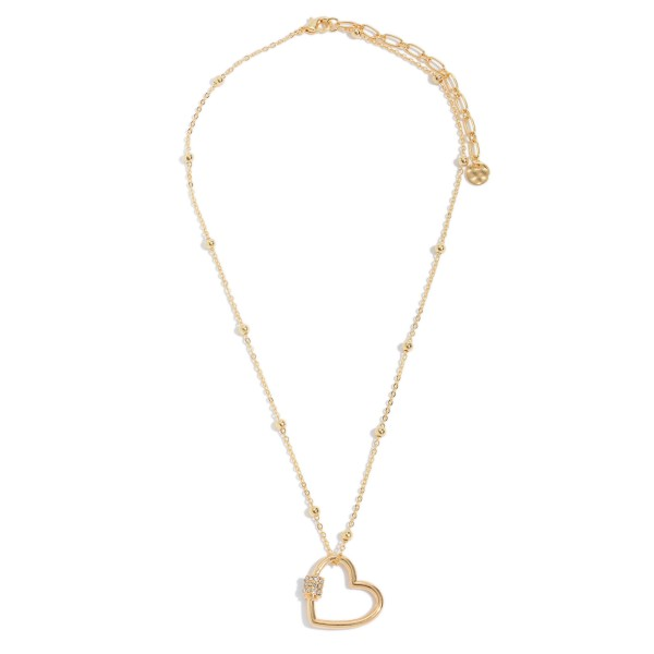 Wholesale ball Chain Heart Carabiner Necklace Gold Rhinestone Accents Pendant Ad