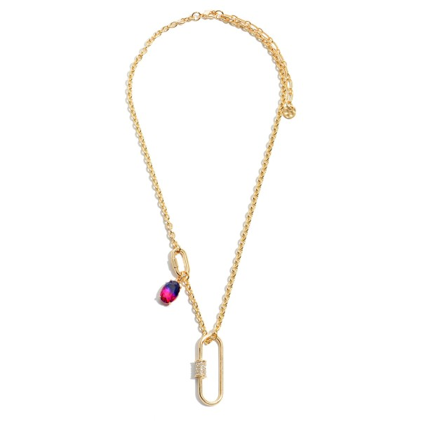 "Carabiner Necklace in Gold Featuring an Ombre Crystal Accent.  - Pendant 1.5""  - Approximately 18"" in Length - 3"" Adjustable Extender"