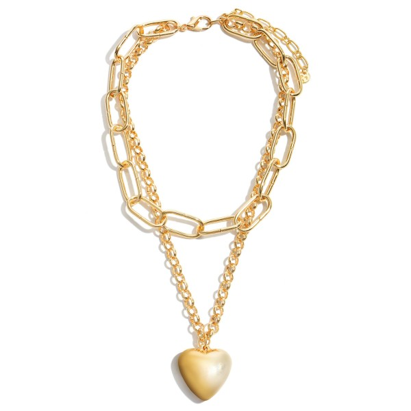 "Chain Link Layered Heart Statement Necklace in Gold.  - Pendant 1.5""  - Approximately 18"" in Length - 3"" Adjustable Extender"