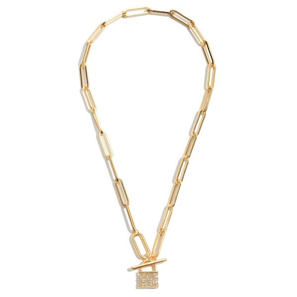 "Pave Lock Chain Link Necklace in Gold.  - Pendant .75""  - Toggle Bar Front Closure - Approximately 16"" in Length"