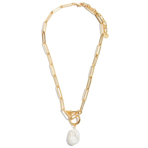 "Baroque Pearl Statement Chain Necklace in Gold.  - Pendant 1""  - Approximately 18"" in Length - 3"" Adjustable Extender"
