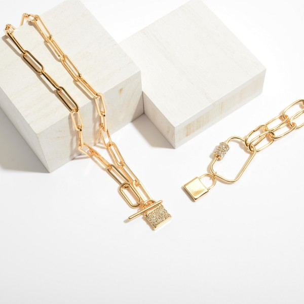 "Carabiner Lock Statement Chain Necklace in Gold.  - Pendant 1.5"" x 2""  - Approximately 16"" in Length - 3"" Adjustable Extender"