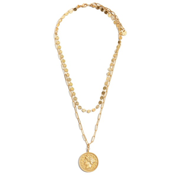 "Sequin Chain Layered Coin Necklace in Gold.  - Pendant 1"" in Diameter - Approximately 18"" in Length - 3"" Adjustable Extender"