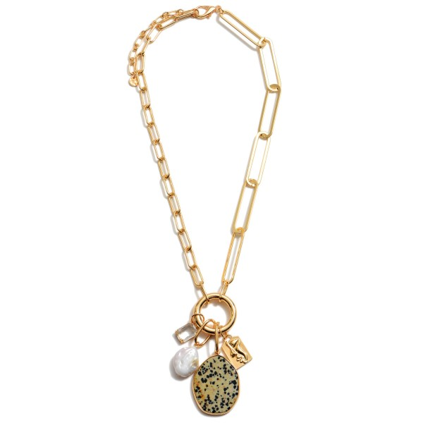 "Chain Link Semi Precious Charm Statement Necklace in Gold.  - Pendant 3"" in Length - Approximately 22"" in Length  - 3"" Adjustable Extender"