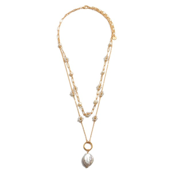 """Ivory Pearl Layered Ring Necklace in Gold.  - Pearl .75"""" - Shortest Layer 16""""  - Approximately 20"""" in Length - 3"""" Adjustable Extender"""