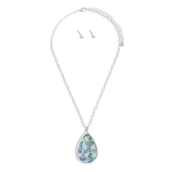 "Abalone Glass Teardrop Pendant Necklace Featuring Sea Turtle Accents.  - Pendant 1.5""  - Approximately 18"" in Length - 3"" Adjustable Extender"