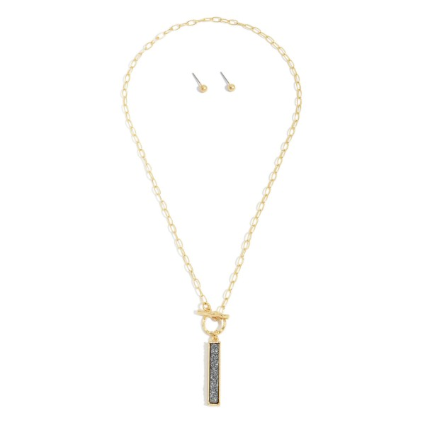"Druzy Toggle Bar Necklace in Gold.  - Pendant 1.25""  - Approximately 18"" in Length"