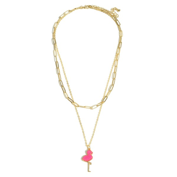 "Chain Link Layered Druzy Flamingo Necklace.  - Pendant 1"" - Shortest Layer 14"" - Approximately 20"" in Length - 3"" Adjustable Extender"