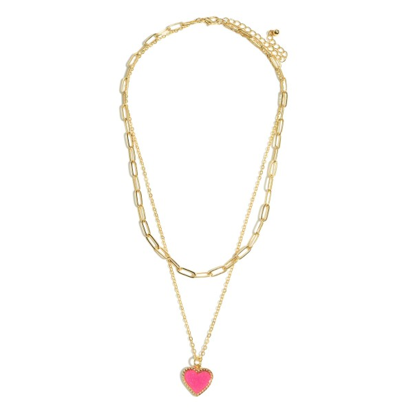 "Chain Link Layered Druzy Heart Necklace.  - Approximately 16"" in Length - 3.5"" Adjustable Extender"