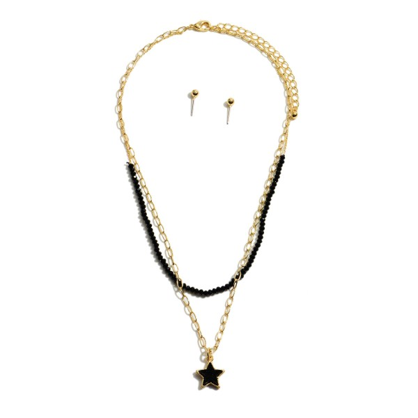 "Layered Beaded Chain Link Druzy Star Necklace.  - Approximately 16"" in Length - 3.5"" Adjustable Extender"