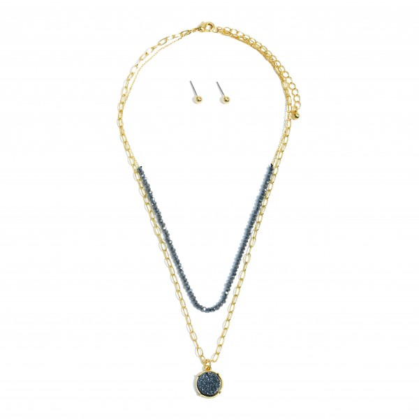 """Beaded Layered Chain Link Druzy Necklace.  - Approximately 16"""" in Length - 3.5"""" Adjustable Extender"""