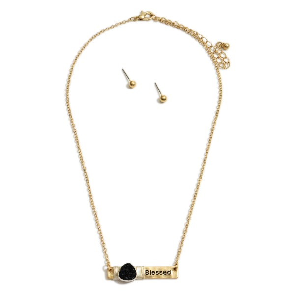 """Short Metal Necklace Featuring Druzy Accents, Wire Details, and Hammered Pendant that Says """"Blessed"""".   - Approximately 18"""" Long - Adjustable 3"""" Extender"""
