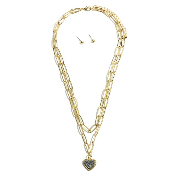 "Chain Link Layered Druzy Heart Necklace in Gold.  - Pendant .5""  - Approximately 16"" in Length - 3"" Adjustable Extender"