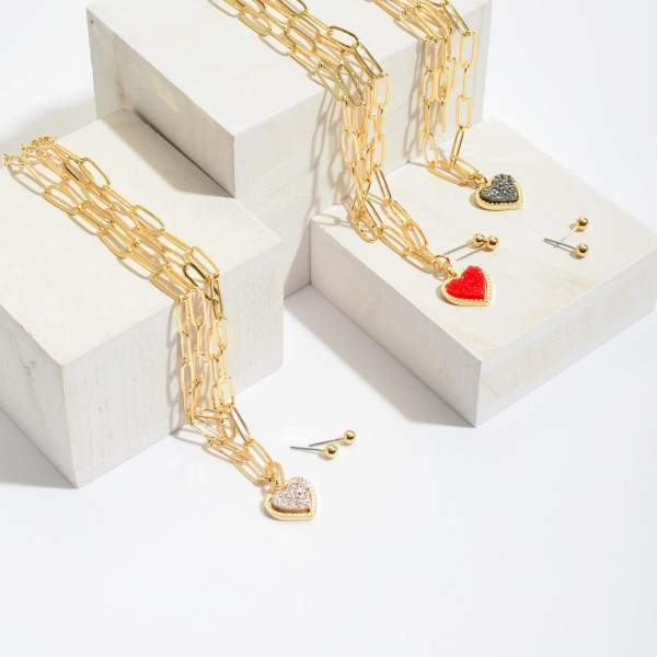 """Chain Link Layered Druzy Heart Necklace in Gold.  - Pendant .5""""  - Approximately 16"""" in Length - 3"""" Adjustable Extender"""