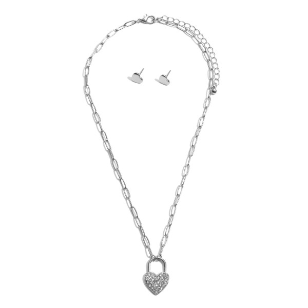 "Pave Heart Lock Pendant Necklace.  - Pendant 1"" - Approximately 16"" in Length - 3"" Adjustable Extender"