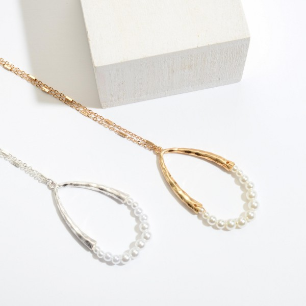 "Long Necklace Featuring Pearl Beaded Teardrop Pendant.  - Pendant 2.5""  - Approximately 36"" in Length - 3"" Adjustable Extender"