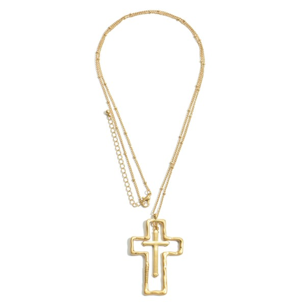 """Long Necklace Featuring a Cross Nested Pendant.  - Pendant 2.5""""  - Approximately 34"""" in Length - 3"""" Adjustable Extender"""