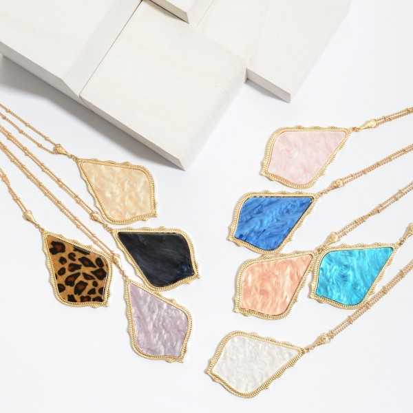 """Long Necklace Featuring a Moroccan Glass Stone Teardrop Pendant.  - Pendant 3.5""""  - Approximately 38"""" in Length - 3"""" Adjustable Extender"""