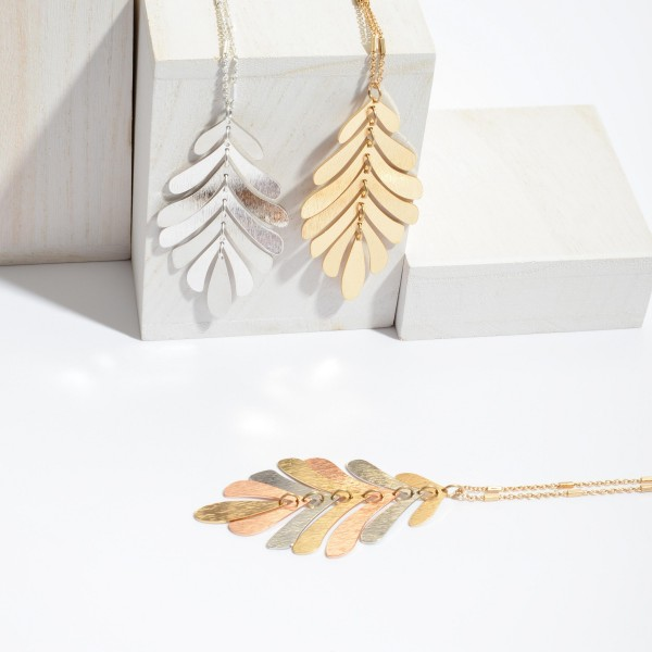 """Long Necklace Featuring Metal Leaf Pendant.  - Pendant 3""""  - Approximately 36"""" in Length - 3"""" Adjustable Extender"""