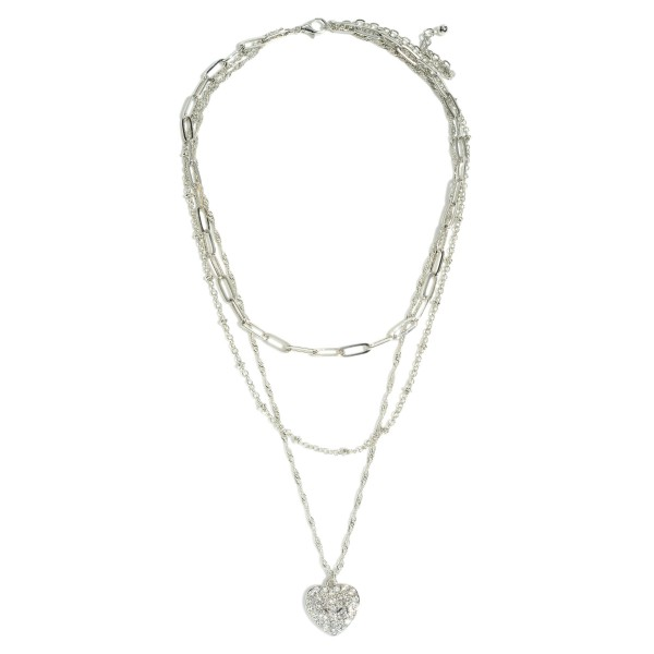 "Chain Link Layered Pave Heart Necklace.  - Pendant .75""  - Shortest Layer 10.5"" - Approximately 16"" in Length - 3"" Adjustable Extender"