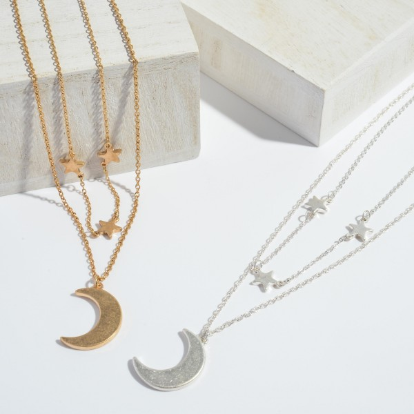 "Moon & Star Layered Fashion Necklace.  - Moon Pendant 1""  - Approximately 16"" in Length - 3"" Adjustable Extender"