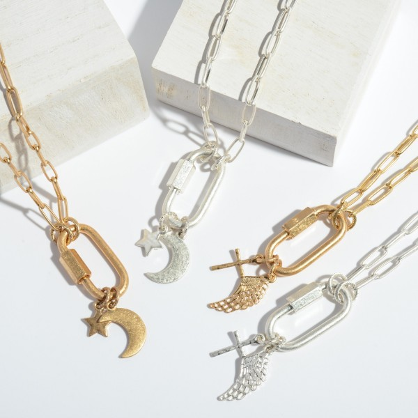 """Chain Link Moon & Star Carabiner Charm Necklace.  - Carabiner Twist Clasp - Pendant 1.5"""" - Approximately 16"""" in Length"""