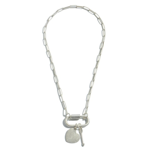 "Chain Link Carabiner Heart Charm Pendant Necklace.  - Charms: Heart & Arrow - Pendant 2.5""  - Carabiner Twist Clasp Closure - Approximately 20"" in Length"