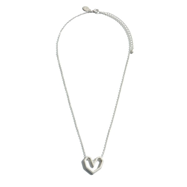 "Metal Heart Pendant Necklace.  - Pendant 1""  - Approximately 16"" in Length - 3"" Adjustable Extender"