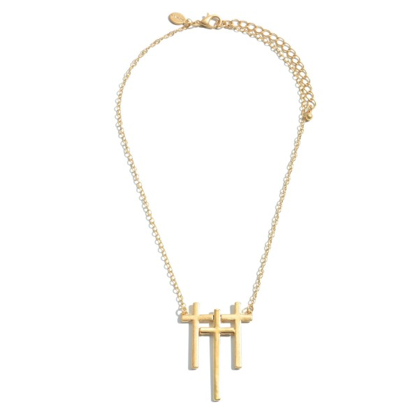 """Triple Metal Cross Pendant Necklace.  - Pendant 2""""  - Approximately 16"""" in Length - 3"""" Adjustable Extender"""