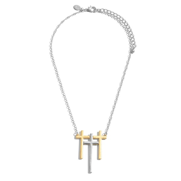 """Two Tone Triple Metal Cross Pendant Necklace.  - Pendant 2""""  - Approximately 16"""" in Length - 3"""" Adjustable Extender"""