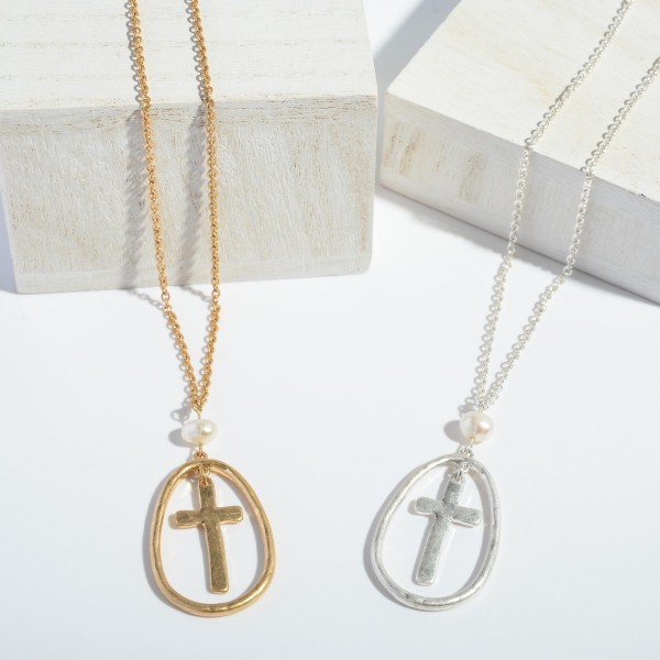 """Cross Nested Pendant Necklace Featuring a Pearl Accent.  - Pendant 1.75""""  - Approximately 22"""" in Length - 3"""" Adjustable Extender"""