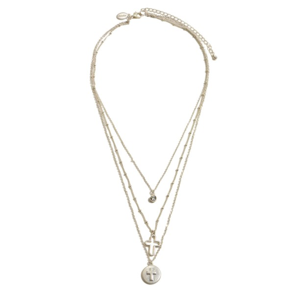 """3 Piece Cross Pendant Necklace Set Featuring Rhinestone Accent.  - 3 Necklaces Per Set - Pendant .5""""  - Approximately 18"""" in Length - 3"""" Adjustable Extender"""