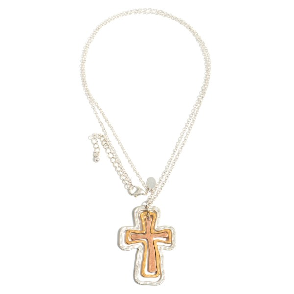 """Long Necklace Featuring Cross Layered Pendant.  - Pendant 2""""  - Approximately 34"""" in Length - 3"""" Adjustable Extender"""